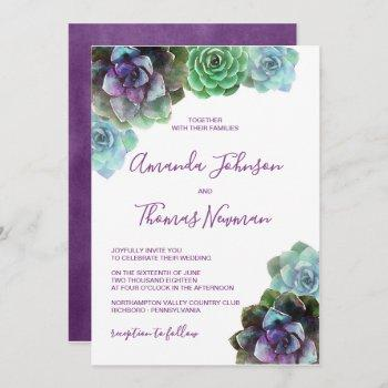 watercolor succulents | wedding invitation
