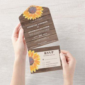 watercolor sunflower barn wood  all in one invitation