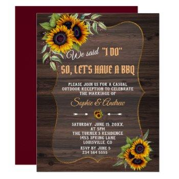 watercolor sunflowers wood burgundy i do bbq invitation