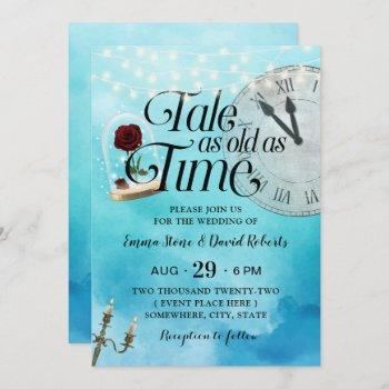 watercolor tale as old as time fairy tale wedding invitation