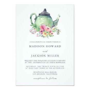 Small Watercolor Tea Party Wedding Invitation Front View
