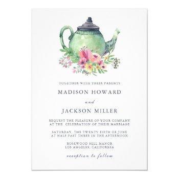 watercolor tea party wedding invitation