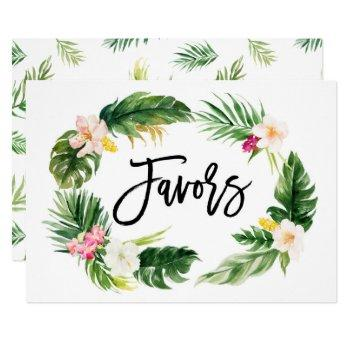 watercolor tropical floral wreath favors sign invitation