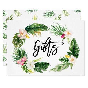 watercolor tropical floral wreath gifts sign invitation