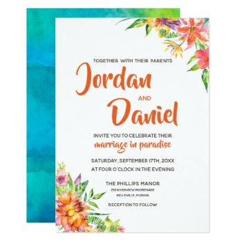 watercolor tropics floral chic destination wedding invitation