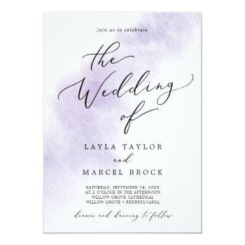 Small Watercolor Wash | Purple The Wedding Of Invitation Front View