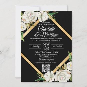 watercolor white black gold floral wedding invitat invitation