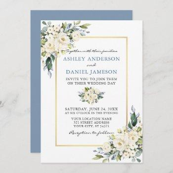 watercolor white floral dusty blue wedding invitation