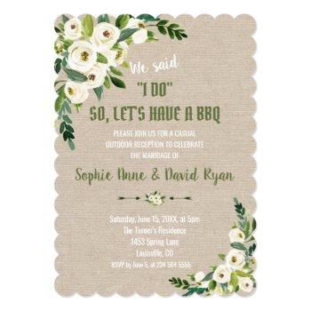 watercolor white flowers linen canvas i do bbq invitation
