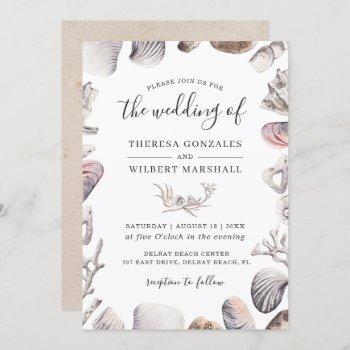 watercolor white sea shell beach sand wedding invitation