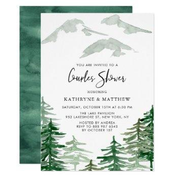 watercolor woodland couples shower invitation