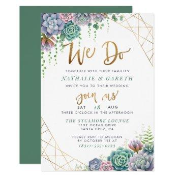 """we do"" hand-lettered script & succulent wedding invitation"
