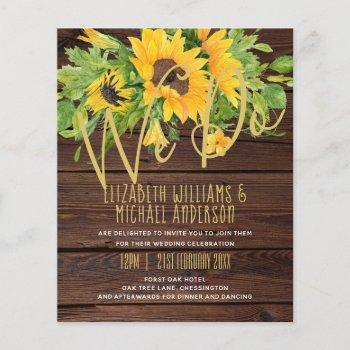 we do rustic sunflowers wood boho wedding invites