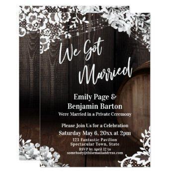 we got married rustic wood barrel lights flowers invitation