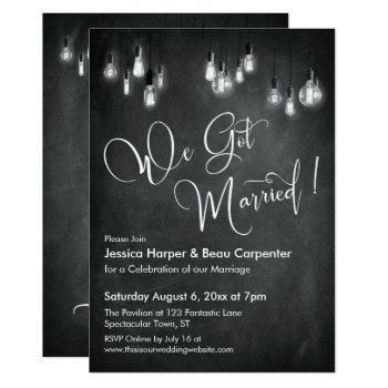we got married typography edison lights chalkboard invitation