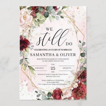 we still do blush burgundy floral vow renewal invitation