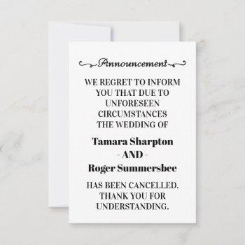 wedding announcement cancellation cards