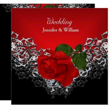 wedding black white silver deep red rose invitation