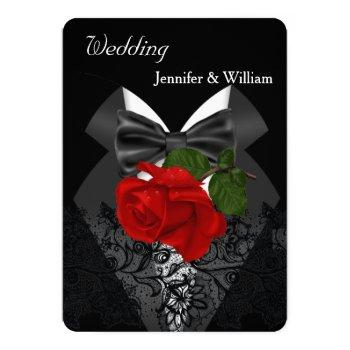 wedding black white tuxedo deep red rose 2c invitation