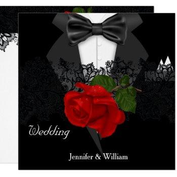 wedding black white tuxedo deep red rose invitation