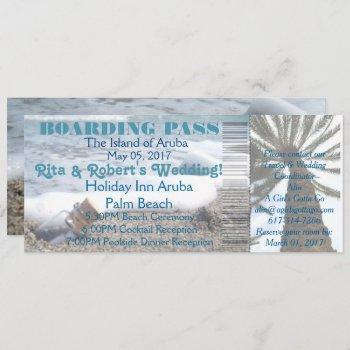 wedding boarding pass ticket-message in a bottle invitation