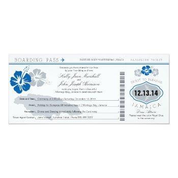 wedding boarding pass to jamaica invitation