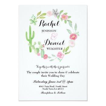 wedding cactus fiesta wreath party invite floral
