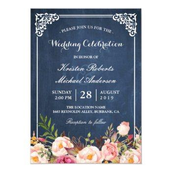 wedding celebration pink floral blue chalkboard invitation