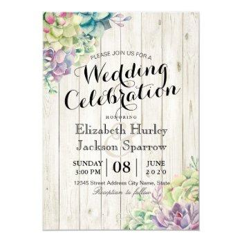 wedding celebration succulent plants rustic wood invitation