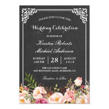 wedding celebration vintage pink floral chalkboard invitation