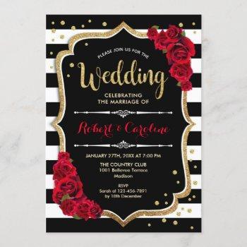wedding ceremony - red black white stripes invitation