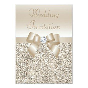 wedding champagne sequins, bow & diamond invitation