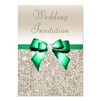 wedding champagne sequins shamrock green bow invitation