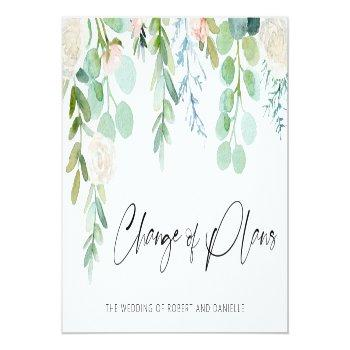 Small Wedding Change Of Plans Watercolor Floral Greenery Announcement Post Front View