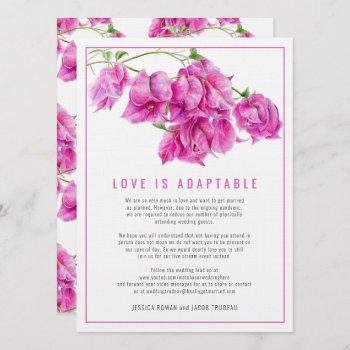 wedding changed to live stream bougainvillea pink invitation