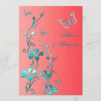 wedding   coral aqua gray   floral   butterflies invitation