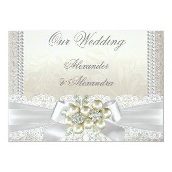 Small Wedding Cream White Pearl Lace Damask Diamond Invitation Front View