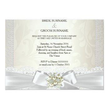 Small Wedding Cream White Pearl Lace Damask Diamond Invitation Back View