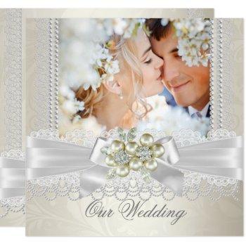 wedding cream white pearl lace damask diamond pic invitation