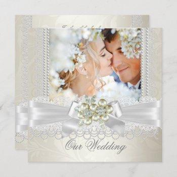 wedding cream white pearl lace damask diamond pic invitation