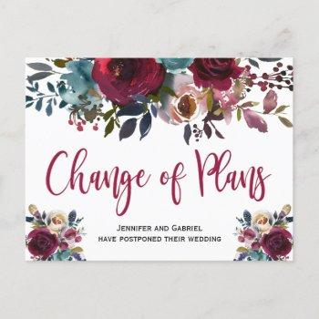 wedding date postponed burgundy navy floral announcement postcard