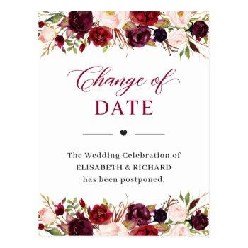 wedding date postponed burgundy red blush floral postcard