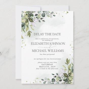 wedding date postponement eucalyptus watercolor announcement