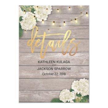 wedding details hydrangea flower string light wood invitation