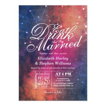 wedding eat drink be married galaxy constellations invitation