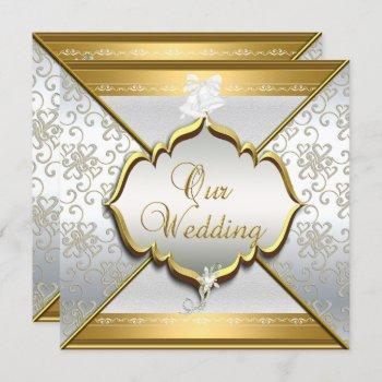 wedding elegant white silver gold invitation
