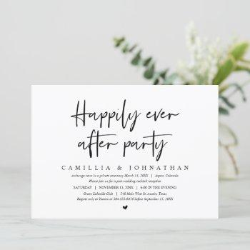 wedding elopement, happily ever after party invitation