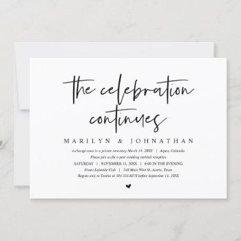 wedding elopement, modern celebration continues invitation