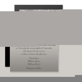 wedding faux silver sequins bow magnetic invitation