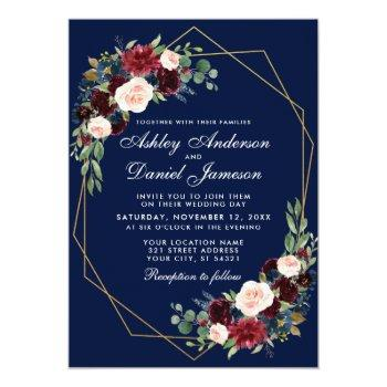 wedding floral blue burgundy geometric gold frame invitation